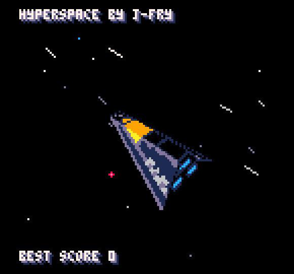 J-Fryn Hyperspace osoittaa, että Pico-8 pystyy myös pehmeään pinnoitettuun 3D-grafiikkaan. Peliä siinä ei juuri ole.