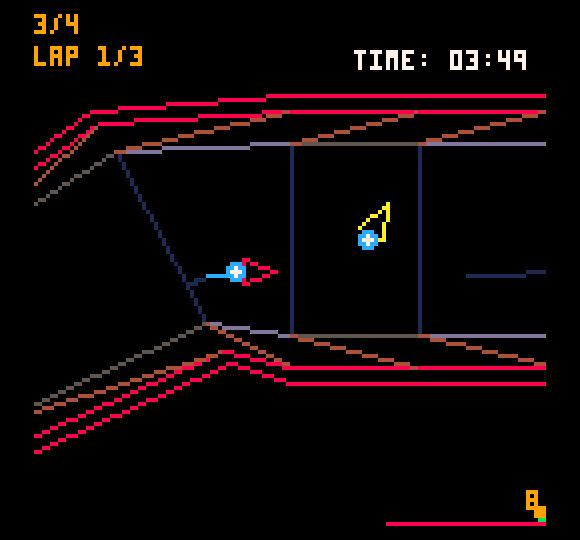 Picoracer2048 on viivavektoripohjainen kilpa-ajopeli, jota valitettavasti voi pelata vain yksin.