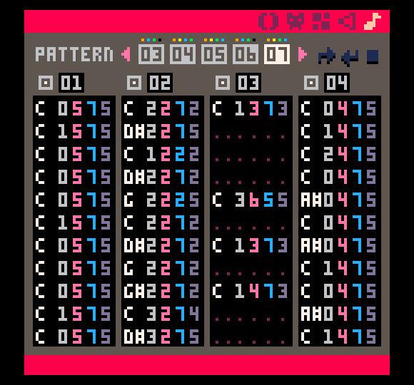 Musiikkieditorissa yhdistetään kuviot musiikkikappaleiksi tracker-tyyliin.