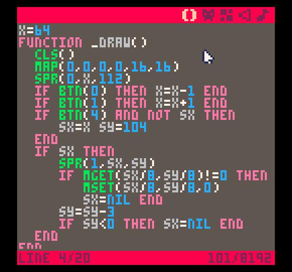 Jos koodieditori tuntuu turhan rajalliselta, voi .p8-tiedostot toki ladata myös ulkoiseen tekstieditoriin.