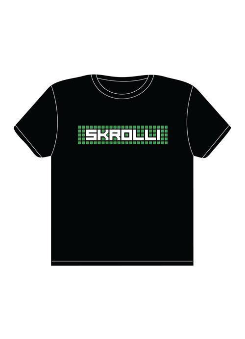 Skrolli T-paita musta-vihreä