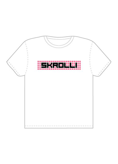 Skrolli T-paita valkoinen-pinkki