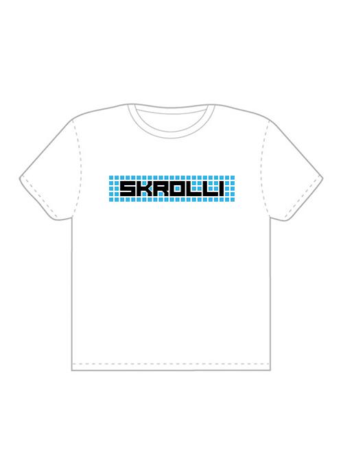 Skrolli T-paita valkoinen-turkoosi